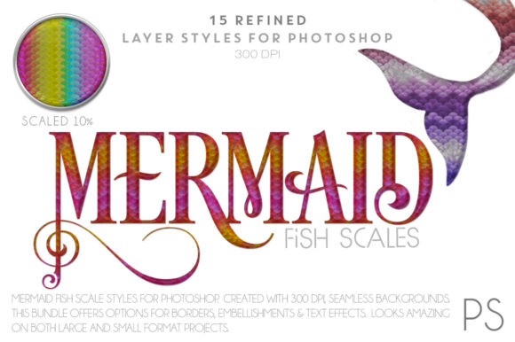 Mermaid Fish Scales Graphic Layer Styles By FlyGirlMedia