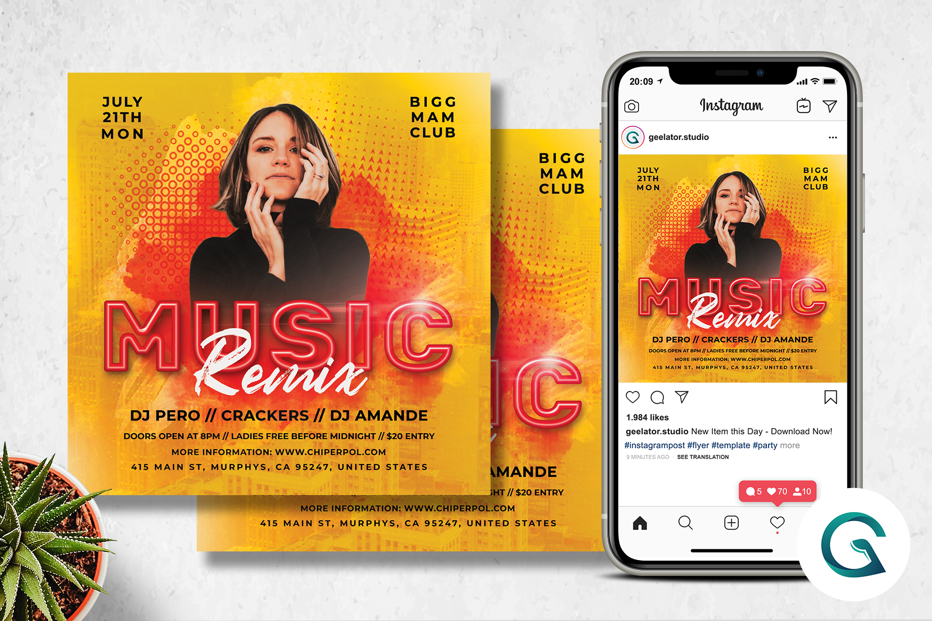 Download Free Music Remix Flyer Grafico Por Geelator Creative Fabrica for Cricut Explore, Silhouette and other cutting machines.