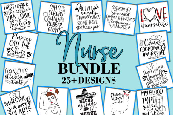 Print on Demand: Nurse Bundle with 25+ Designs Graphic Crafts By freelingdesignhouse - Image 1