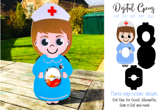 Download Free Nurse Egg Holder Design Graphic By Digital Gems Creative Fabrica for Cricut Explore, Silhouette and other cutting machines.