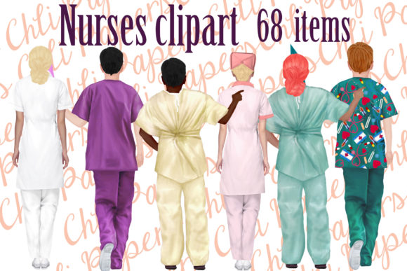 Nurses Clipart, Medical Clipart, Nurse Grafik Illustrationen von ChiliPapers
