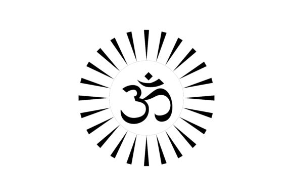 Om Hinduism Sign with Sun Explosion Graphic Logos By artpray - Image 1