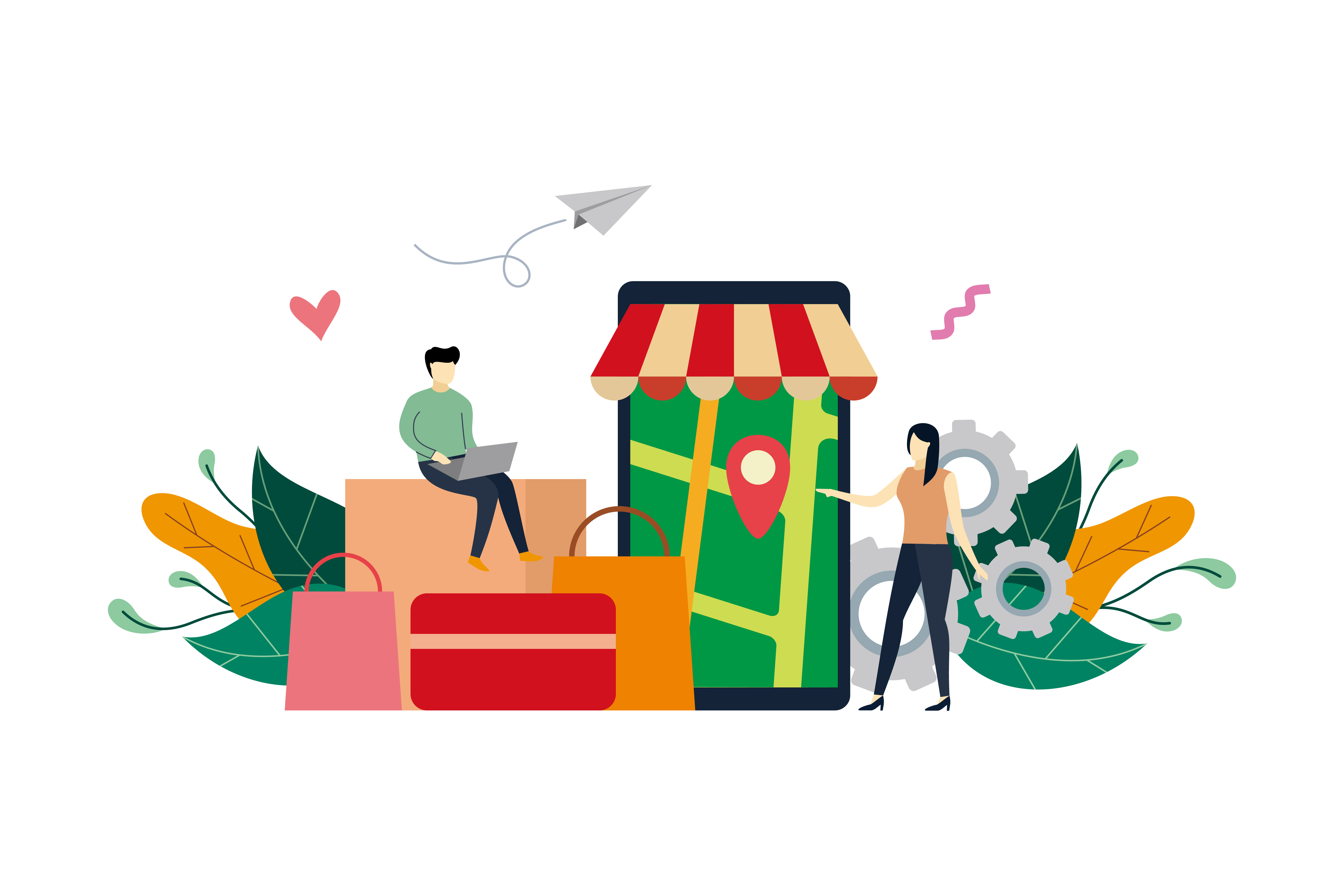 Download Free Online Shopping Flat Design Illustration Graphic By Lartestudio for Cricut Explore, Silhouette and other cutting machines.