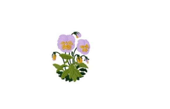 Pansy Single Flowers & Plants Embroidery Design By Red Moon Gardens