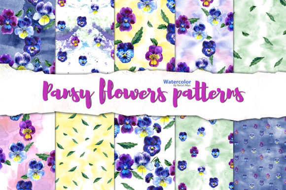 Pansy Flowers Digital Paper Pack Graphic Patterns By NataliMyaStore
