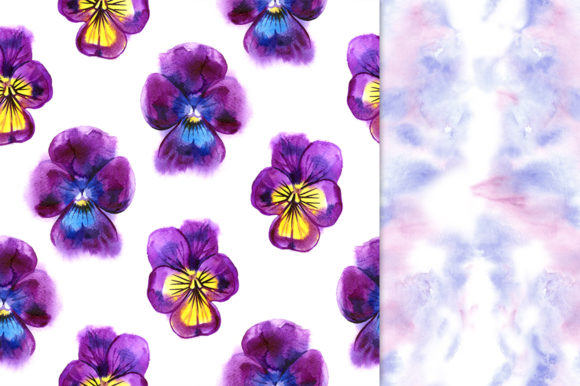 Pansy Flowers Digital Paper Pack Graphic Patterns By NataliMyaStore - Image 3