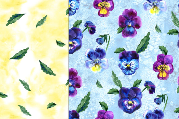 Pansy Flowers Digital Paper Pack Graphic Patterns By NataliMyaStore - Image 5