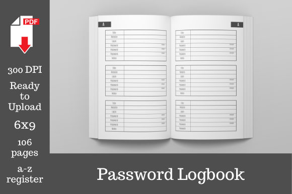 Print on Demand: Password Logbook 6x9 Inches 106 Pages Graphic KDP Interiors By KDP Template Designs - Image 1