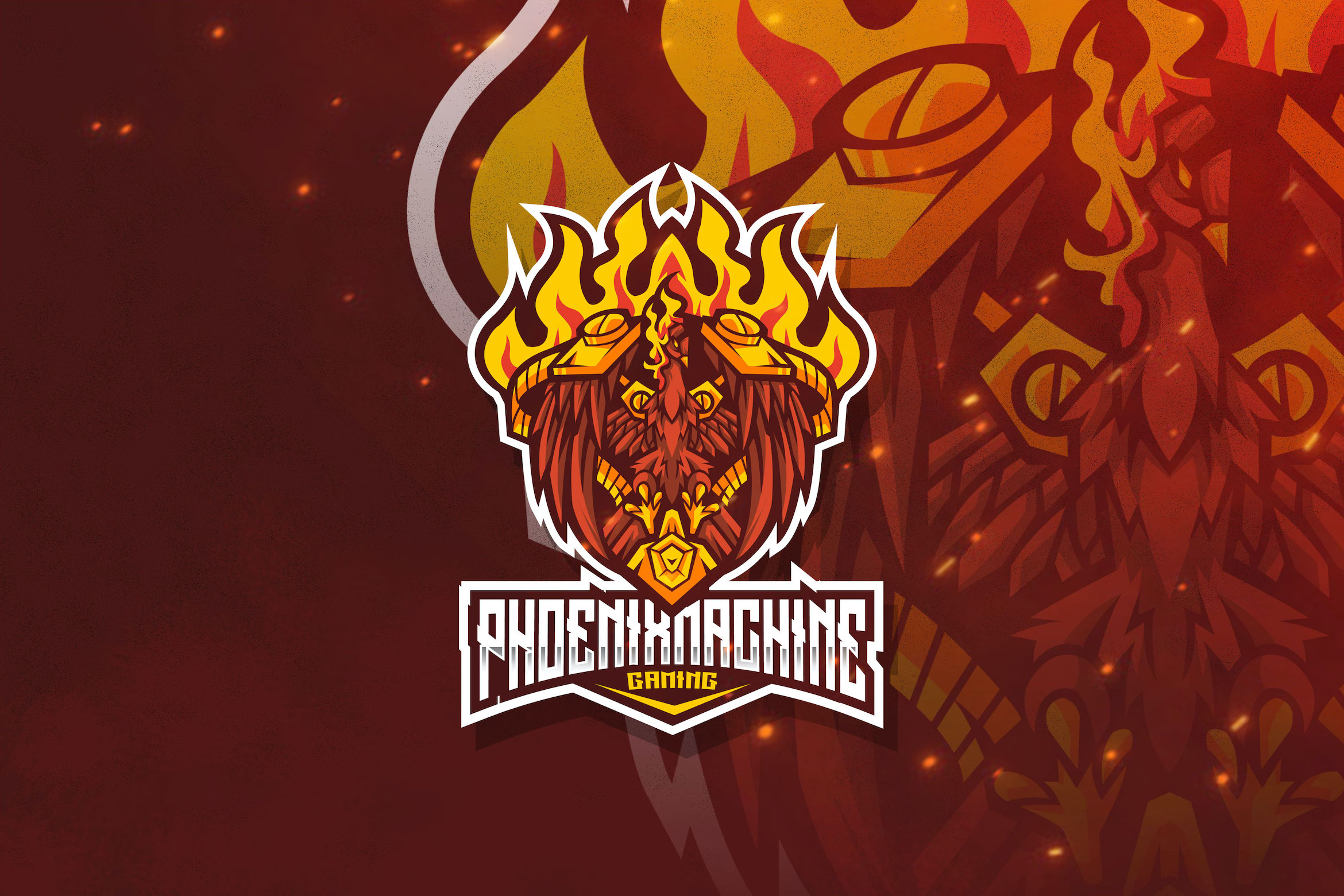 Download Free Phoenix Machine Esport Logo Template Graphic By Stringlabs Creative Fabrica for Cricut Explore, Silhouette and other cutting machines.