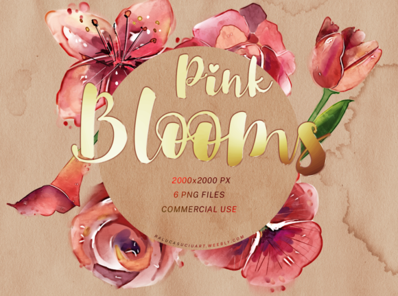 Print on Demand: Pink Watercolor Flowers Gráfico Ilustraciones Por ralucasuciuart