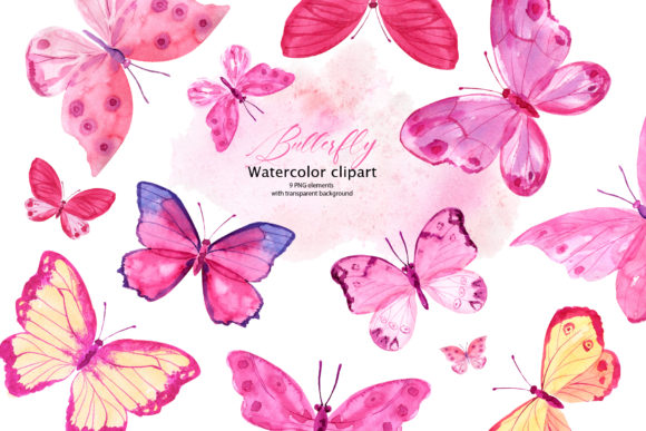 Pink Watercolor Butterflies Graphic Illustrations By lena-dorosh