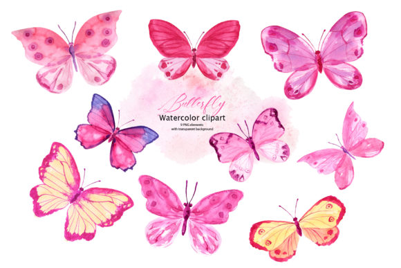 Download Free Pink Watercolor Butterflies Graphic By Lena Dorosh Creative for Cricut Explore, Silhouette and other cutting machines.