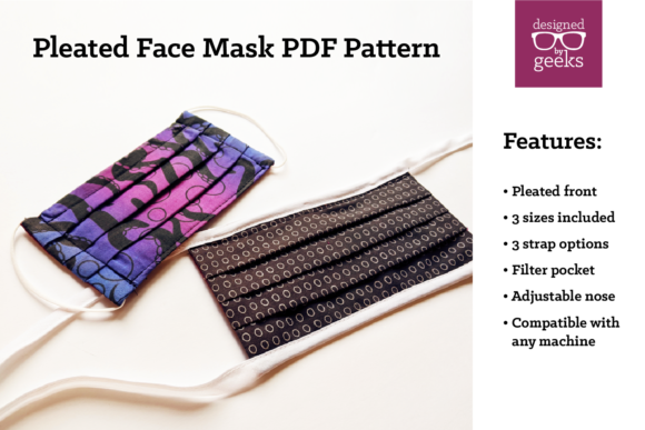 Pleated Face Mask Sewing Pattern PDF Graphic Patterns By DesignedByGeeks