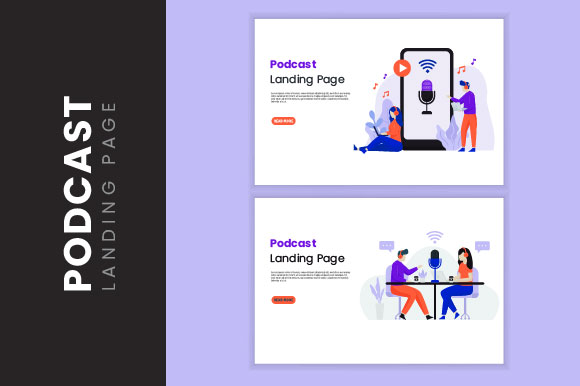 Download Free Podcast Landing Page Illustration Graphic By H12 Creative Fabrica for Cricut Explore, Silhouette and other cutting machines.