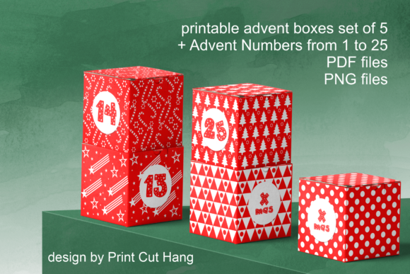 Print on Demand: Printable Advent Boxes for Small Gifts Graphic Print Templates By print.cut.hang