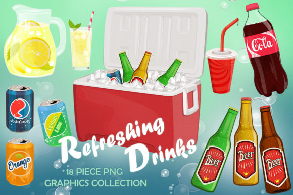 Refreshing Drinks Graphics Set Grafik Illustrationen von Dapper Dudell