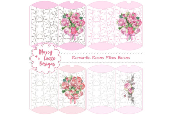 Romantic Roses Printable Pillow Boxes Graphic 3D Pillow Box By MarcyCoateDesigns