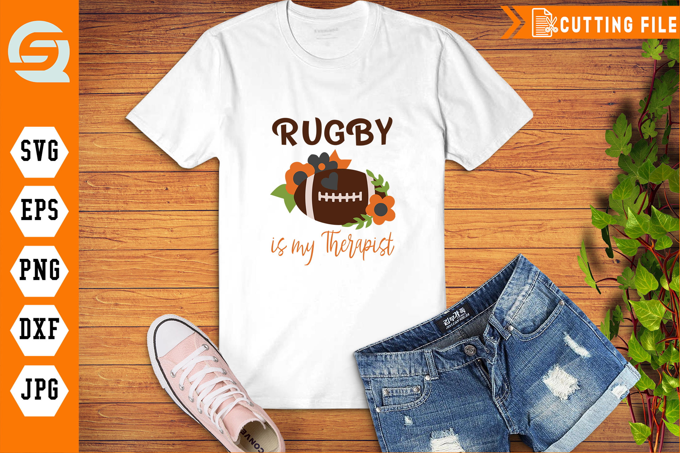 Download Free Rugby Is My Therapist Sport Graphic By Qura Studio Creative for Cricut Explore, Silhouette and other cutting machines.
