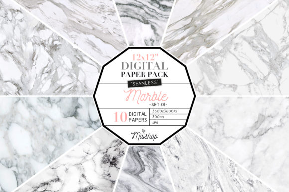 Print on Demand: Seamless Digital Paper Marble Set 01 Graphic Patterns By Maishop