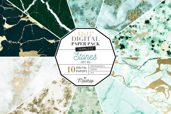 Print on Demand: Seamless Digital Paper Stones Set 02 Graphic Patterns By Maishop