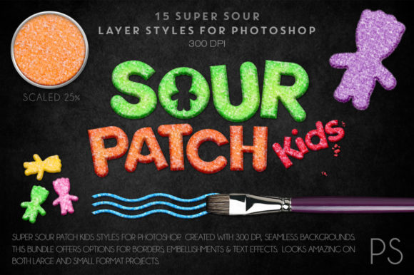 Sour Patch Kids Candy Graphic Layer Styles By FlyGirlMedia