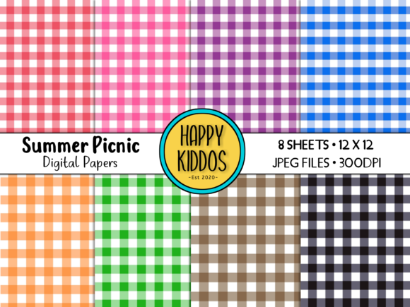 Summer Picnic Digital Papers Graphic Illustrations By Happy Kiddos