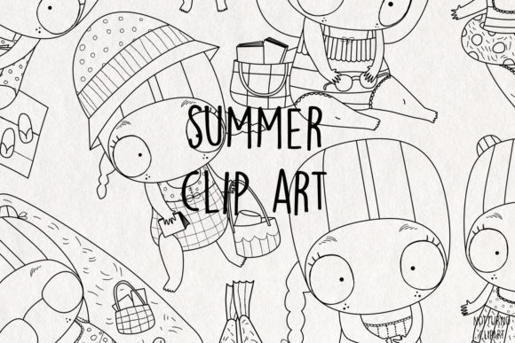 Summer Clipart. Graphic Coloring Pages & Books Adults By NotturnoClipArt