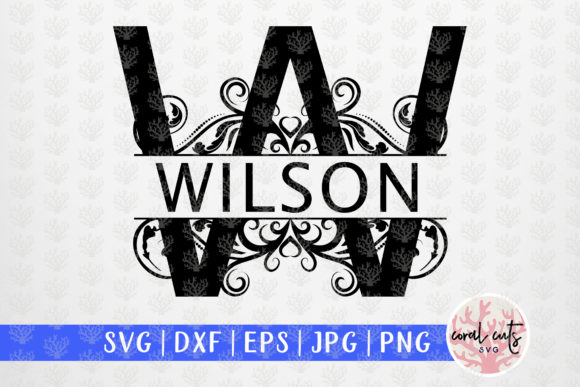 Download Free Swirl Split Monogram A To Z Letters Graphic By Coralcutssvg for Cricut Explore, Silhouette and other cutting machines.