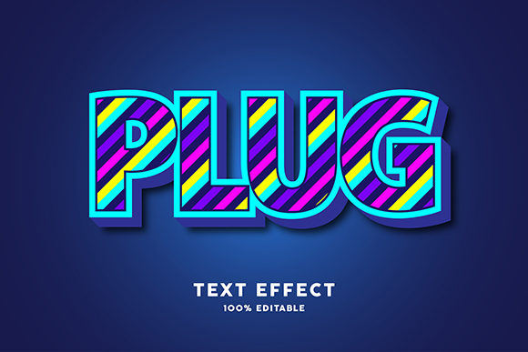 Text Effect - 3d Blue with Colorful Line Graphic Graphic Templates By Amrikhsn