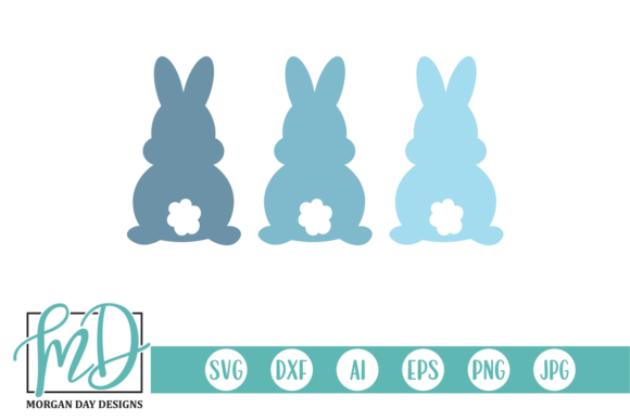 Download Free Three Easter Bunnies Graphic By Morgan Day Designs Creative for Cricut Explore, Silhouette and other cutting machines.