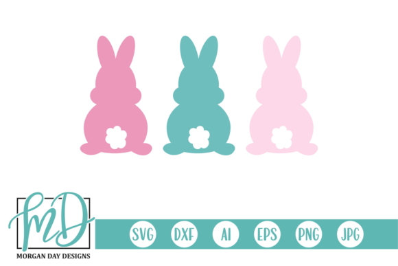 Download Free Three Easter Bunnies Grafik Von Morgan Day Designs Creative for Cricut Explore, Silhouette and other cutting machines.