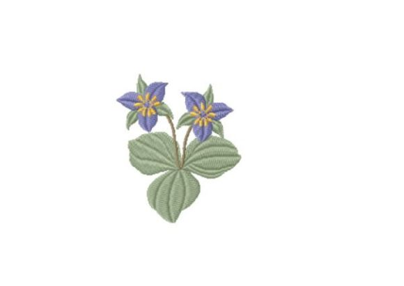 Trillium Single Flowers & Plants Embroidery Design By Red Moon Gardens
