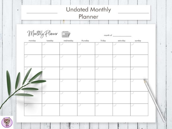 Undated Monthly Planner Printable Graphic Print Templates By HelArtShop