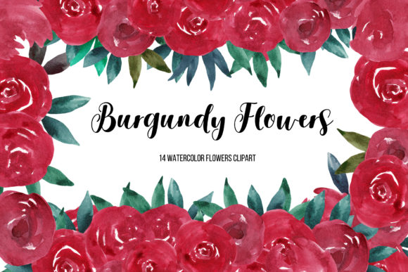 Watercolor Burgundy Flower Clipart Graphic Illustrations By BonaDesigns