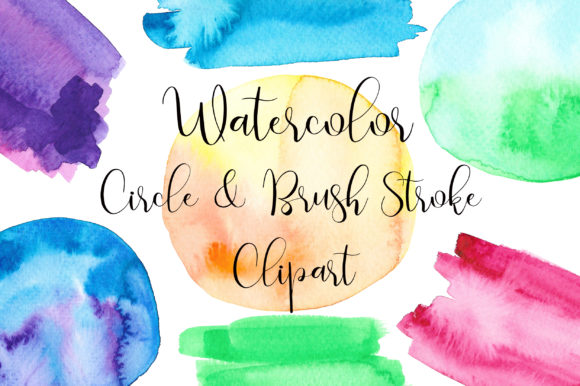 Watercolor Circle and Brush Stroke Graphic Illustrations By PinkPearly