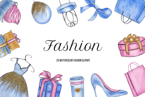 Watercolor Fashion Shopping Clipart Graphic Illustrations By BonaDesigns