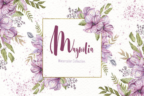 Print on Demand: Watercolor Magnolia Collection Graphic Illustrations By tanatadesign