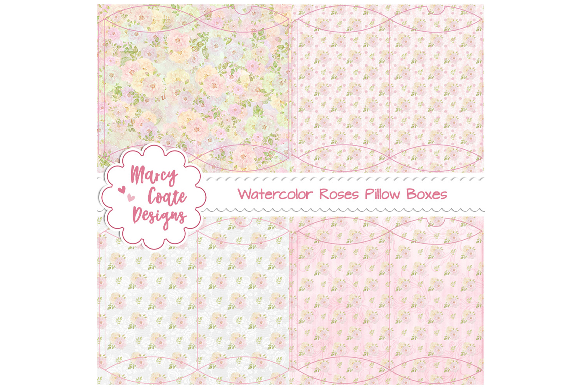 Download Free Watercolor Roses Printable Pillow Boxes Graphic By for Cricut Explore, Silhouette and other cutting machines.
