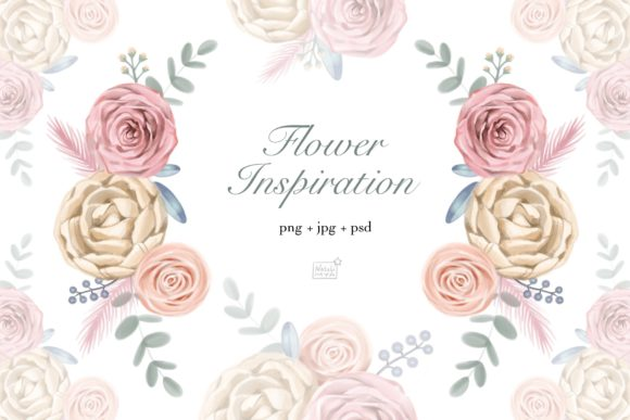 Watercolor Cream Roses Cliparts Graphic Illustrations By NataliMyaStore