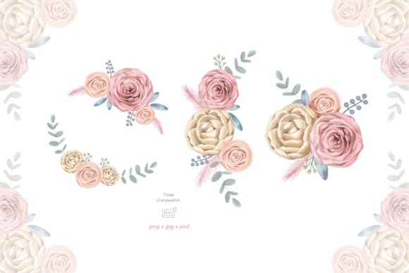 Watercolor Cream Roses Cliparts Graphic Illustrations By NataliMyaStore - Image 3