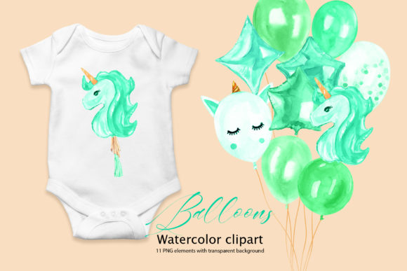 Download Free Watercolor Green Balloons Clipart Graphic By Lena Dorosh for Cricut Explore, Silhouette and other cutting machines.