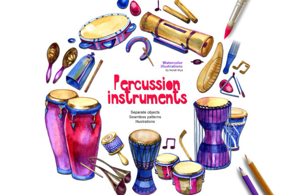 Download Free Watercolor Music Percussion Cliparts Graphic By Natalimyastore for Cricut Explore, Silhouette and other cutting machines.