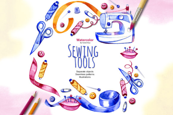 Watercolor Sewing Cliparts Graphic Illustrations By NataliMyaStore