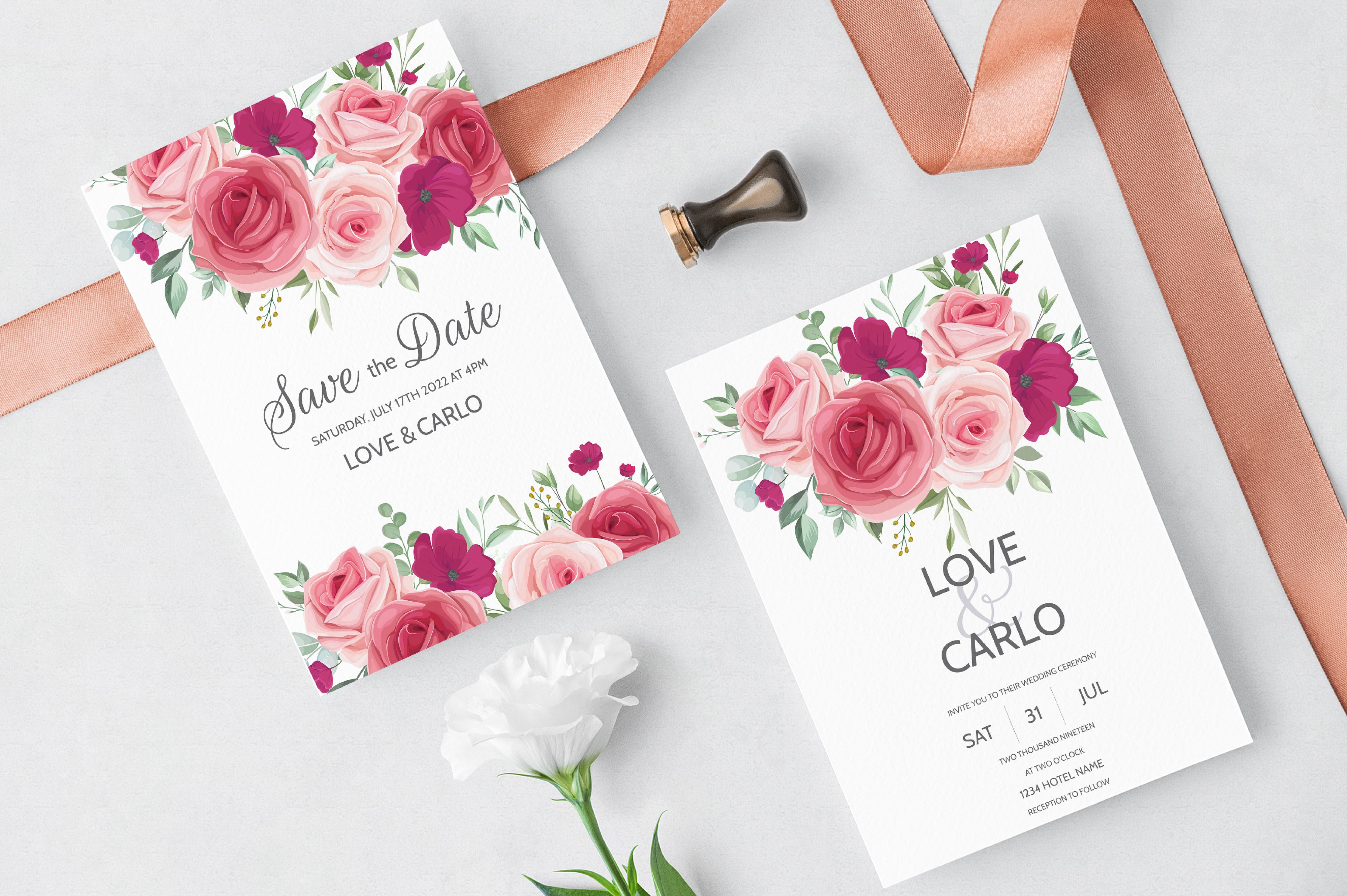 Download Free Wedding Invitation Card Template Set Graphic By Dinomikael01 for Cricut Explore, Silhouette and other cutting machines.