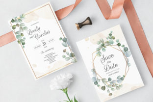 Wedding Invitation Card with Eucalyptus Graphic Print Templates By dinomikael01