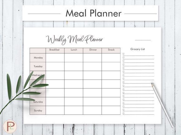 Weekly Meal Planner Graphic Print Templates By HelArtShop