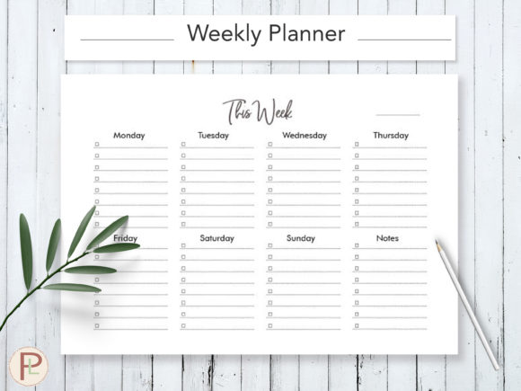 Print on Demand: Weekly to Do List Graphic Print Templates By HelArtShop