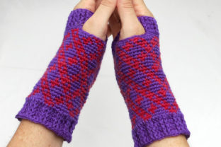 Women's Checkers Fingerless Mitts Graphic Crochet Patterns By Knit and Crochet Ever After
