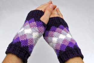 Women's Diamond Fingerless Mitts Graphic Crochet Patterns By Knit and Crochet Ever After