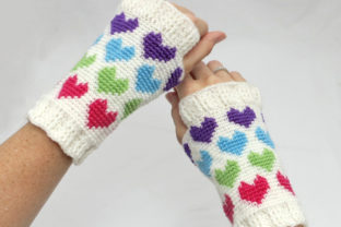 Women's Hearts Abound Mitts Graphic Crochet Patterns By Knit and Crochet Ever After